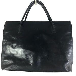 Monsac Black leather laptop bag briefcase